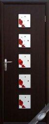 Двери с рисунком на стекле